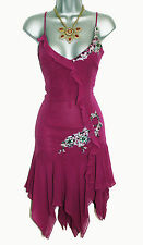 KAREN MILLEN Purple Silk Embellished Flapper Evening Cocktail Dress UK 12  EU 40