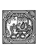 A7 'Indian Elephant Motif' Unmounted Rubber Stamp (SP003966)