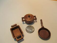 Playmobil kitchen SET OF 3 PIECES OF COPPER-COLORED COOKWARE