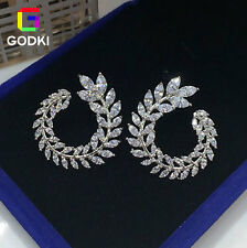 GODKI Wheat Feather Simulate Diamond Women Engagement Silver Circle Earring Stud