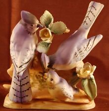 Vintage Ceramic Figurines Figurine Blue Jays and Baby Made in Japan 31727 (F4)