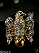 SIGNED SWAROVSKI PAVE' CRYSTAL AMERICAN EAGLE  PIN ~ BROOCH RETIRED NEW
