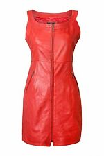 NEW RED REAL GENUINE SOFT LEATHER LADIES WOMAN SLEEVELESS SEXY PARTY DRESS