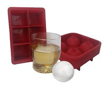 Combo Large Square & Round Ice Cube Mold Silicone Tray Big Chiller Square and...