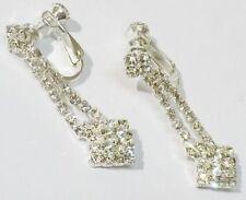 boucles d'oreilles clips bijou vintage cristal diamant vis sécurité * 5205