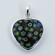 Murano glass sterling silver pendant heart 925 hallmarked 29mm height new NEW
