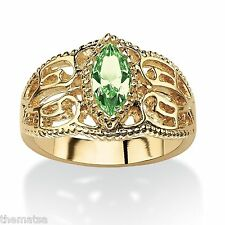 WOMEN MARQUISE CUT 14K GOLD FILIGREE AUGUST PERIDOT BIRTHSTONE RING 5 6 7 8 9 10