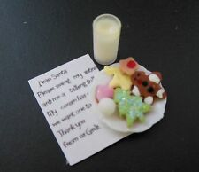 Dollhouse miniatures handcrafted tiny plate of cookies & milk w/letter to Santa