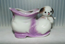 Mid Century Vintage 1960's White Lavender Puppy On Boot Porcelain Figurine Vase