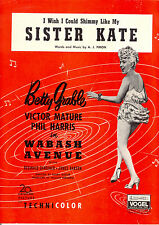 "WABASH AVENUE Sheet Music ""Shimmy Like My Sister Kate"" Betty Grable"