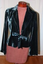 Lined jacket silk velvet teal with satin bow excellent condition, August Silk 10