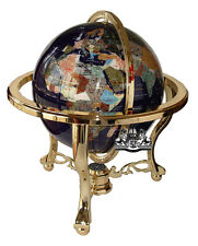 "Unique 21"" Tall Blue Lapis Tripod Gold Leg table Gem Gemstone World Map Globe"
