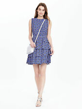 NWT Banana Republic Tile Print Ruffle Dress, Summer Lilac SIZE 6 TALL    #184118