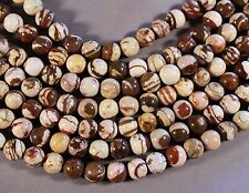 "BROWN CHOCOLATE ZEBRA JASPER 10MM ROUND BEADS 15.5"" STR"