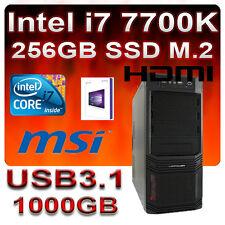Komplett PC Intel Core i7 7700K 4x4,50GHz MSI-USB3.1-256GB SSD M.2-1TB-16GB-