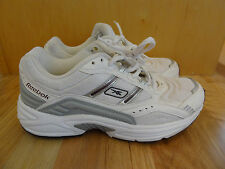 Preowned Reebok Womens Running Shoes Sneakers Leather Mesh White Grey 8 Walking