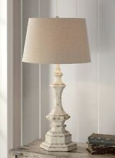 "Shabby Cottage Chic Table Lamp French Country Distress Finish Hexagon Base 34""H"