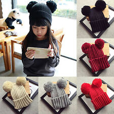Hi Warm Women's Winter Outdoor Chunky Knit with Double Fur Pom Cute Beanie Hat A
