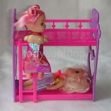 Random 1 Bunk Bed Furniture Dollhouse Accessory for Barbie Sister Kelly Doll