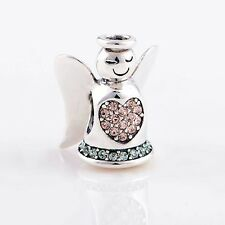 ANGEL w HALO, PINK HEART & GREEN BASE .925 Sterling Silver European Charm Bead