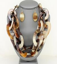 Brown Celluloid Tortoise Shell Horn Necklace Earring Large Double Link Chain