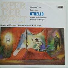"""VERDI OTHELLO MARIO DEL MONACO TEBALDI PROTTI HERBERT VON KARAJAN 12"""" LP (d108)"""