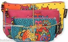 Laurel Burch Cat Feline Clan Makeup Bag 3pc Organizer Set + Tie String NEW