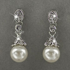 18K WHITE GOLD GF GENUINE SWAROVSKI CRYSTAL PEARL STUD EARRINGS