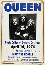 Queen April 16, 1974 - 1st US Tour and 1st Vintage Retro Metal Sign Home Studio