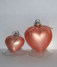 VALARIE PARR HILL MERCURY GLASS PEACH HEART ORNAMENTS