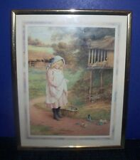 Little Pioneer Girl in the Yard -Framed Print with Metal Stand
