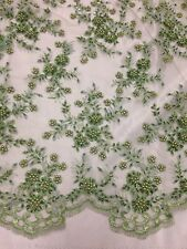 "SAGE MESH W/EMBROIDERY  PEARL BEADS BRIDAL LACE FABRIC 50"" WIDE 1 YARD"