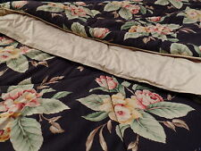Ralph Lauren Charleston Twin Size Comforter Multi Floral Black Background Orchid