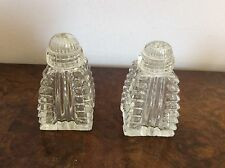 ���� Vintage Salt And Pepper Shakers Depression Glass Crystal Cut Square Based