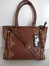 LaTique Women's Brown Studded Bella Zip Tote Hand/Shoulder bag SALE  $108 NWT