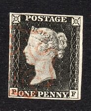 QV 1840 penny black sg2  plate 1a ( P F ) 1d black 4 margin & red MX.