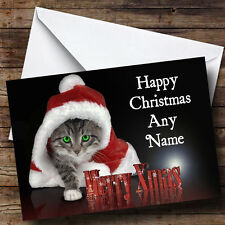 Santa Cat Christmas Greetings Card Personalised