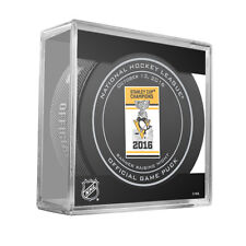 2016 PITTSBURGH PENGUINS BANNER RAISING NIGHT GAME PUCK STANLEY CUP CHAMPS 10/13