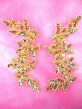 0279 Appliques Gold Floral Vine Mirror Pair Beaded Sequin 6""