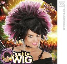Black Pink Spikey Wig Rock Princess Goth Emo Nu Rave Fancy Dress