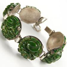 Deco Dark Green Bakelite Pierced Rosettes Link Bracelet