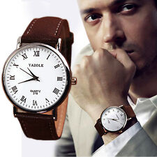 Latest Luxury Fashion Faux Leather Mens Analog Watch Watches Brown Strap