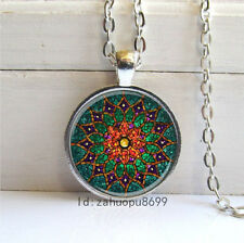 Vintage Green Lotus Cabochon Silver plated Glass Chain Pendant Necklace/p5