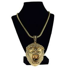 """Lion Head Iced-Out King Size Chunky Hip Hop Pendant Gold Finish 36"""" Franco Chain"""