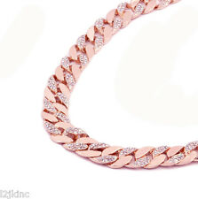 14k Rose Gold Finish Iced Out Hip Hop CZ Chain Mens Miami Cuban Chain necklace