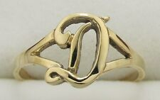 14K  Solid Yellow Gold Initial Ring  Letter D