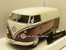 VOLKSWAGEN T1 DELIVERY VAN TRANSPORTER 1/43RD SCALE MODEL MAROON BOXED /~/