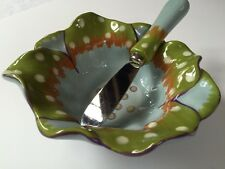 Saparna Small Dip Bowl/Serving Dish with Spreader Blue Green