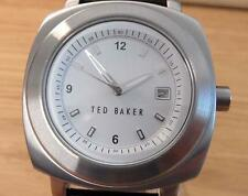 Mens Retro Stye Ted Baker TB020 Black Leather White Dial Square Analog Watch