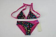 NWT Roxy 10 Girl's 2 Pc  Bikini Swimsuit True Black Pink Blue Logo Print